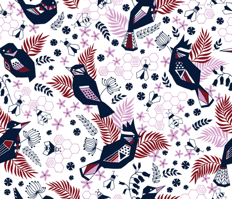 the birds and the bees orchid and navy fabric by ldpapers on Spoonflower - custom fabric