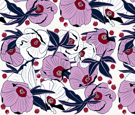 Hibiscus Floral  fabric by jenniejoyce on Spoonflower - custom fabric