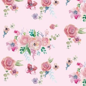 Soft Pink Watercolour Flowers