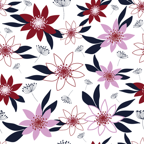 Floral limited palette fabric by mayra on Spoonflower - custom fabric