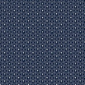 Petite Flowers in Medallions - White on Navy