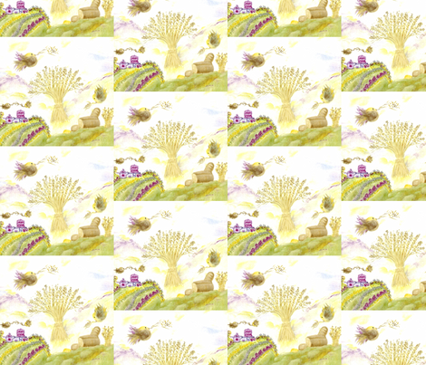 Glorious Wheat and Birds fabric by lissikaplan on Spoonflower - custom fabric