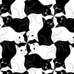 Tesselating Black and White Cats 2