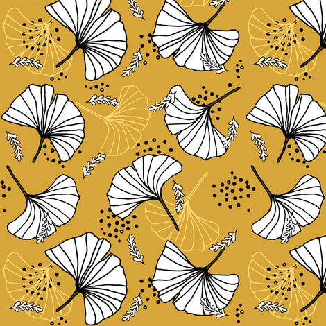 gingko leaves fabric by twix on Spoonflower - custom fabric
