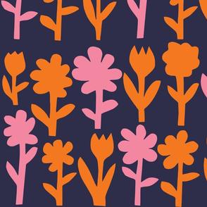 Pop! Goes the Flowers. Orange/Pink Dark