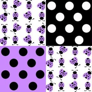 Purple Ladybug Polka Dot Quilt Blocks