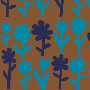 Pop! Goes the Flowers. Blue/Navy Dark