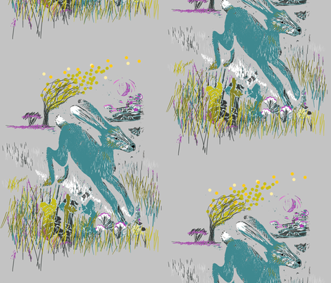 Moon Hare fabric by artist_chloe_birnie on Spoonflower - custom fabric