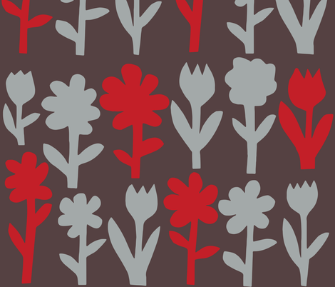 Pop! Goes the Flowers. Silver/Red Dark fabric by johnandwendy on Spoonflower - custom fabric