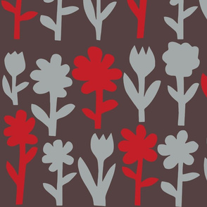 Pop! Goes the Flowers. Silver/Red Dark