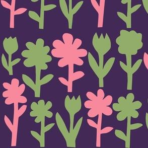 Pop! Goes the Flowers. Green/Pink Dark