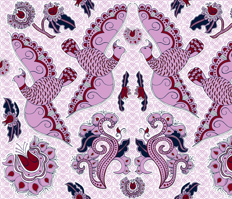 Chinese Indigo Bird and Blooms, Orchid fabric by palifino on Spoonflower - custom fabric