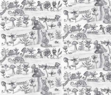 Whimsical Tortoise and the Hare fabric by casey_belle_ on Spoonflower - custom fabric