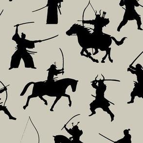 Samurai on Light Taupe // Large