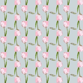Pink Tulips on Silver background