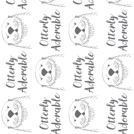white otterly-adorable-sideways fabric by lilcubby on Spoonflower - custom fabric