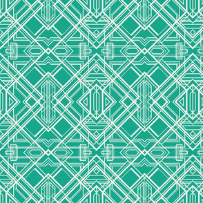 art deco lines coconut milk white on arcadia green