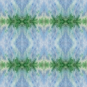 Blue Green  Painted Salt Print Mirror