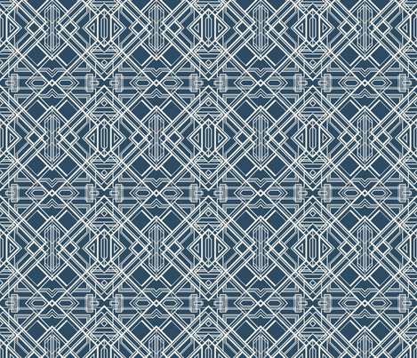 art deco lines coconut milk on sailor blue fabric by groundnut_apiary on Spoonflower - custom fabric