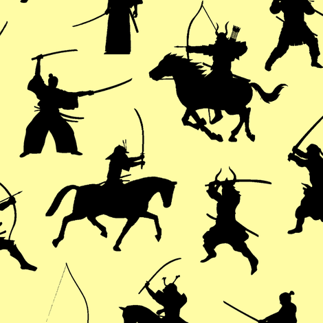 Samurai on Yellow // Large fabric by thinlinetextiles on Spoonflower - custom fabric