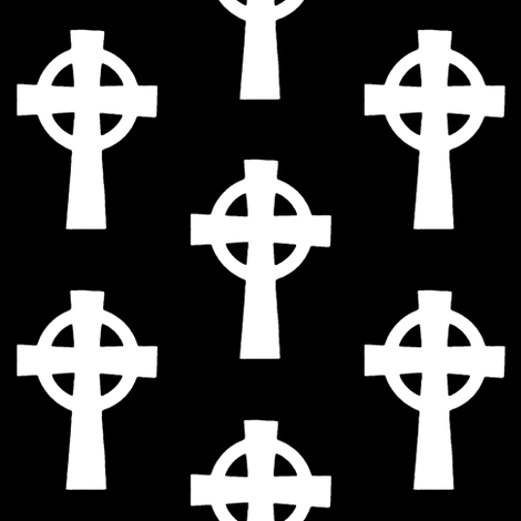 Celtic Crosses on Black // Large fabric by thinlinetextiles on Spoonflower - custom fabric