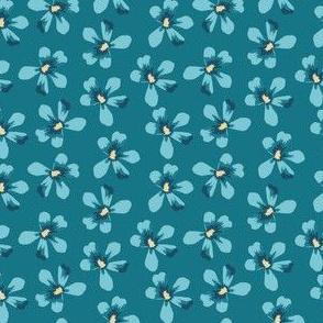 Teal Floral Small Geranium Blooms