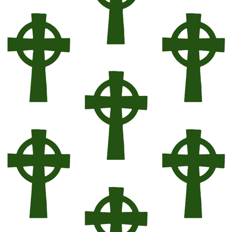 Emerald Celtic Crosses // Large fabric by thinlinetextiles on Spoonflower - custom fabric