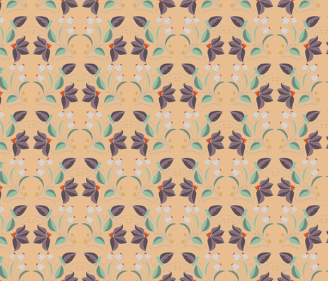 peach christina repeat tile fabric by six_little_spoons on Spoonflower - custom fabric