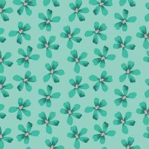 Turquoise Floral Small Geranium Blooms