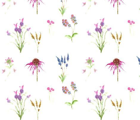 Botanical Flowers fabric - lissikaplan - Spoonflower