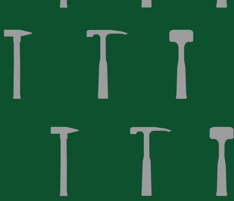 Rock Hammers - Green fabric by facts&figuresdesigns on Spoonflower - custom fabric