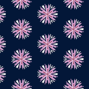 Bright Orchid And Navy Floral Pattern