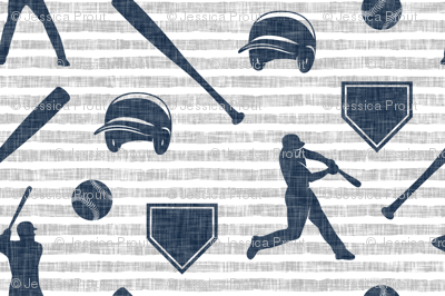 baseball fabric - navy on grey stripes