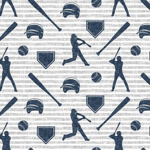 baseball fabric - navy on grey stripes