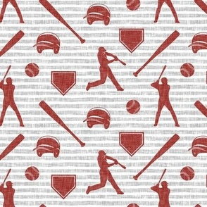 baseball fabric - deep red on grey stripes