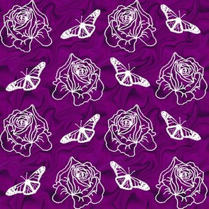 Roses and Butterflies on Purple Swirl
