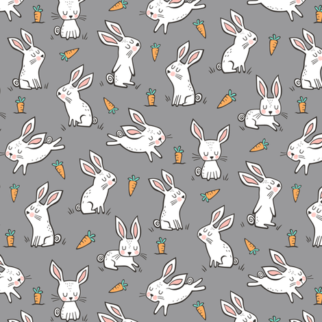 Bunnies Rabbits & Carrots On Dark Grey Smaller 1,5 inch fabric by caja_design on Spoonflower - custom fabric