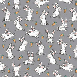 Bunnies Rabbits & Carrots On Dark Grey Smaller 1,5 inch