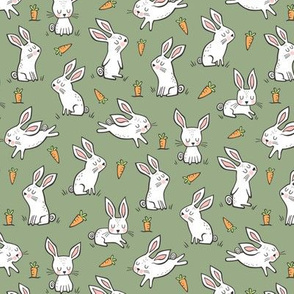 Bunnies Rabbits & Carrots On Olive Green Smaller 1,5 inch