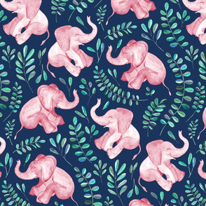 Laughing Pink Baby Elephants on Navy - large print