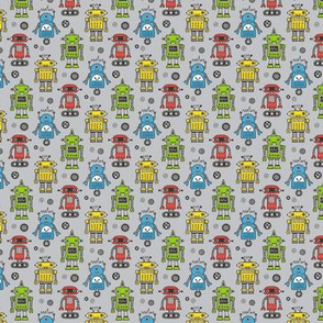 Cute Robots on Gray Tiny Small 1 inch
