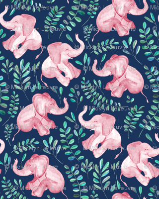 Laughing Pink Baby Elephants on Navy - small print