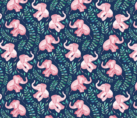 Laughing Pink Baby Elephants on Navy - small print fabric by micklyn on Spoonflower - custom fabric