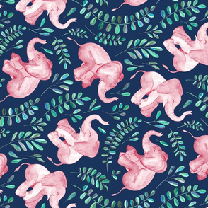 Rotated  Laughing Pink Baby Elephants on Navy