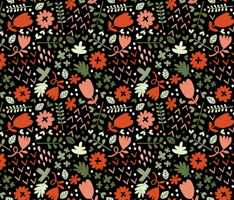 60s Floral (rose) fabric by anda on Spoonflower - custom fabric