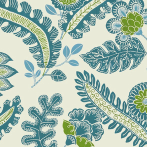 Indian chintz (Teal/olive)