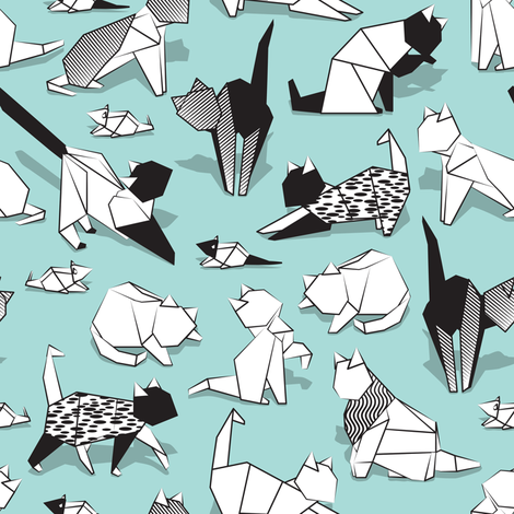Origami kitten friends // aqua background paper cats fabric by selmacardoso on Spoonflower - custom fabric