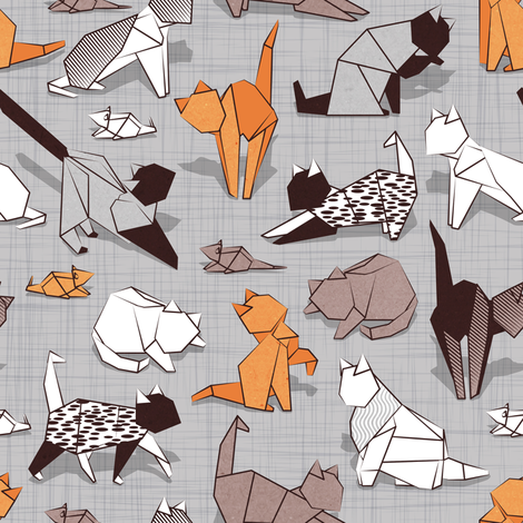 Origami kitten friends // grey linen texture background paper cats fabric by selmacardoso on Spoonflower - custom fabric
