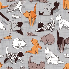 Origami kitten friends // grey linen texture background paper cats