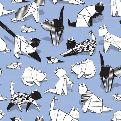 Origami kitten friends // blue lavander background paper cats